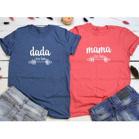 Dada, mama to be couple t-shirt set