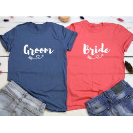 Groom, bride couple t-shirt set