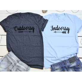 Indoorsy, outdoorsy couple t-shirt set