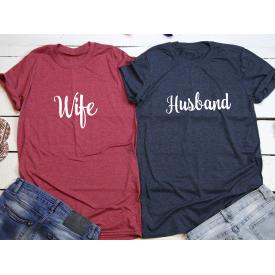 Husband, wife couple t-shirt set
