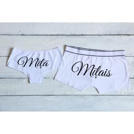 Mīļais and mīļā couple's underwear set