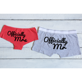 Officially Mr and Officially Mrs couple's underwear set