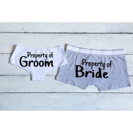 Property of Groom and Property of Bride couple's underwear set