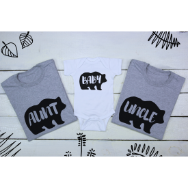 Baby, aunt and uncle bear set