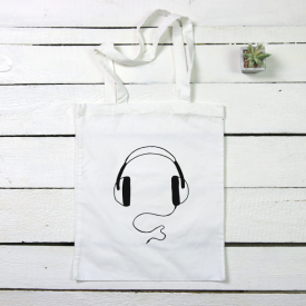 Headphone tote canvas bag