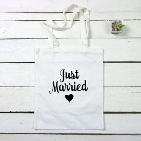 Just married tote canvas bag