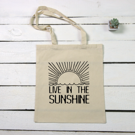 Live in sunshine tote canvas bag