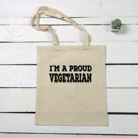 I'm a proud vegetarian tote canvas bag